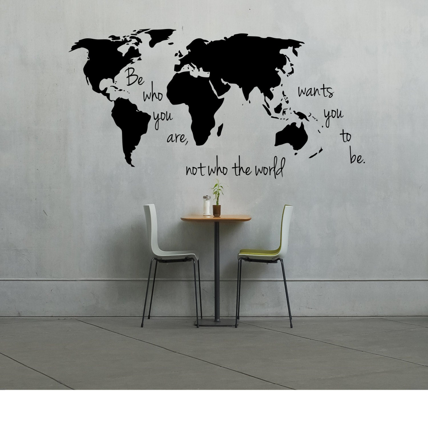 World map sticker for wall india - Large World Map Decal Be Who You Are Not Who The World Wants You