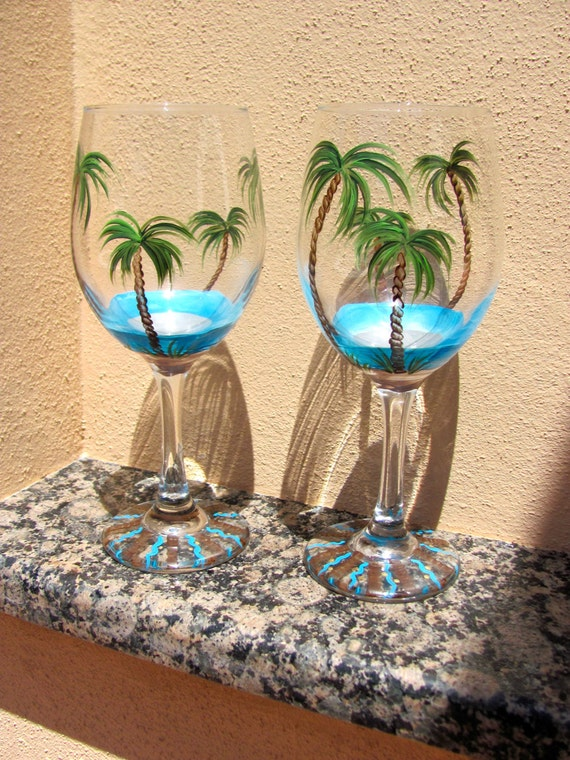 Tropical hand painted glass wine glasses by for Hand designed wine glasses