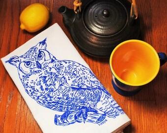 Eco Friendly Cloth Napkins - Screen Printed Blue Owl Design - Woodland Animal Theme - Perfect Wedding Shower Gift