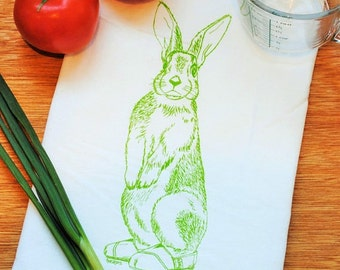 Green Rabbit Dish Flour Sack Towel - Screen Printed - Cotton Tea Towel - Wedding Shower Gift - Hand Towel Cup Towel - Birthday Gift