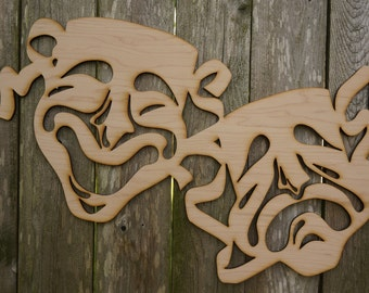 Drama Masks wood cut sign