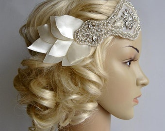 Bridal 1920s Bandeau petal headband, The Great Gatsby Headband, 1920s Headpiece, Flapper 1920's,Ivory petal rhinestone crystal headband,