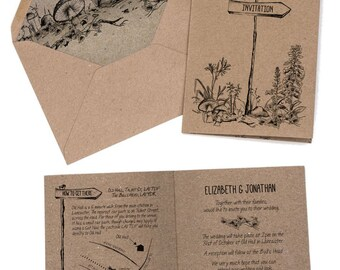 Wedding Invitation rustic, woodland forest invitation, Recycled kraft card, Country farm wedding invite, unique wedding invitation