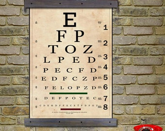 "Vintage Eye Chart. Snellen Eye Chart. Sized at 24""w x 36""h. Antique eye Chart"
