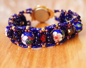 Beaded Bracelet with Cloisonne Beads, Fire Polished Crystals, and Gold Filigree Clasp