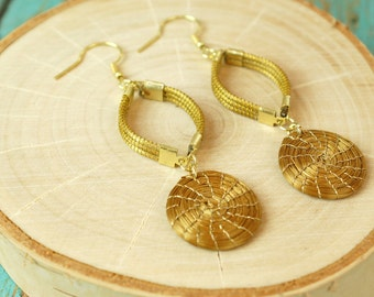 Dangle Golden Grass Earrings, Hand woven, Organic Earrings, Fair trade Jewelry, Hoop Earrings