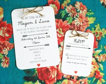 Tying the Knot Wedding Invitation Set - Pretty, Simple, Heart Detailing, Twine Bow