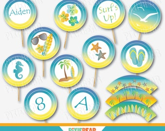 Beach Cupcake Topper - Summer Cupcake Toppers - Beach Cupcake Wrappers - Beach Birthday - Summer Party - Beach Party - Surf Party (Download)