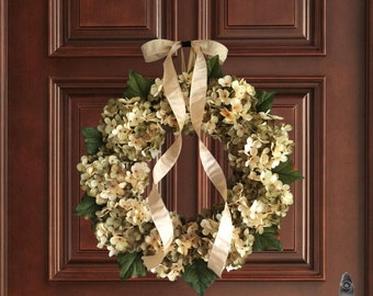 Beautiful Hand Blended Hydrangea Wreath | Summer Wreath | Front Door Wreaths | Green and Cream Hydrangeas | Wreath | Housewarming Gift