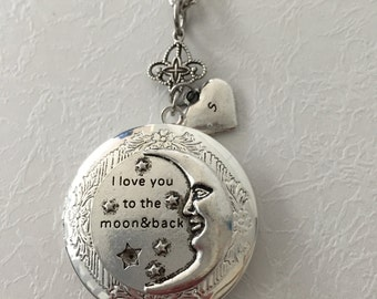 I love you to the moon and back locket with hand stamped heart initial- Mother, Daughter, Best Friend, Niece, grandmother, Grand Daughter