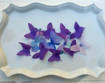 Edible Pastel Lavender Sugar Butterflies Cake/Cupcake Toppers Set of 12