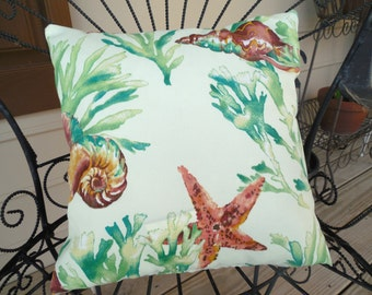 Beach Shell Outdoor Pillow Cover Nautical Coral Shell Patio Porch Throw Pillow Coastal Home Decor