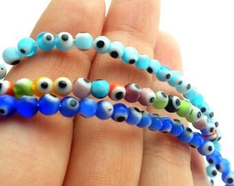 4mm Evil Eye Glass Bead, 100pcs Round Glass Evil Eye Bead, 1 Strand Evil Eye Bead, Tiny Glass Evil Eye Bead, Evil Eye Finding, Evil Eye Bead