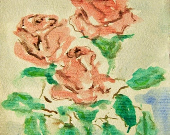Flower Painting, Watercolor Roses Painting, Roses, Contemporary Art, Modern Painting, Modern Art