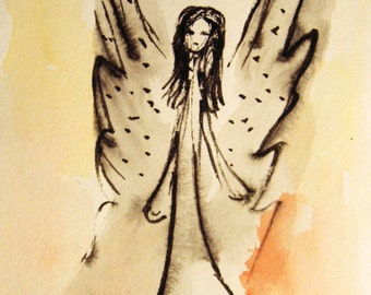 Angel Ink Painting on Paper, Original Ink and Watercolor Painting, Guardian Angel, Small Paintings, Angel Art