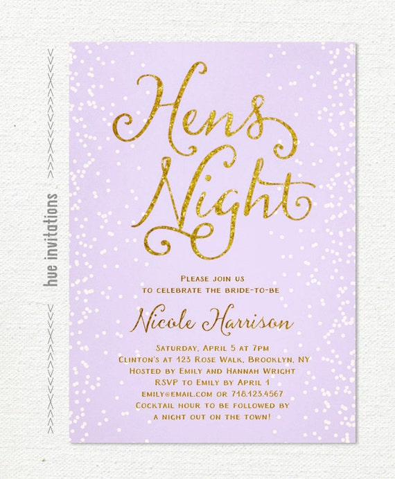 Purple gold hens night invitation pastel lilac and gold hens like this item stopboris Images