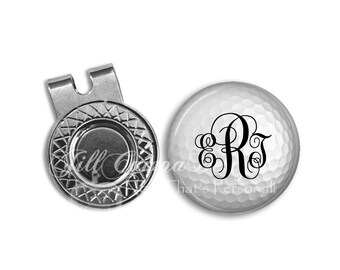 Monogram golf ball marker - Magnetic Golf Ball Marker and hat clip set