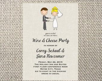 PRINTED or DIGITAL Bride and Groom Stick People Rehearsal Wedding Shower Invitations 5x7 Customized Design 0.82 each
