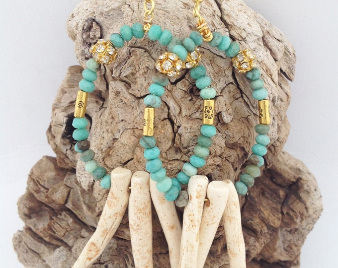 Handmade Tribal earrings, Hoops, Boho, Gypsy, Goddess, Festival, Sexy, Healing, Spike, Celebrity, Unique, Jade (The Guardian Earrings)