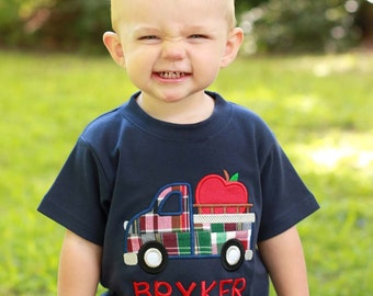 Boy's School Fall Apple Truck Shirt with Embroidered Name - M39