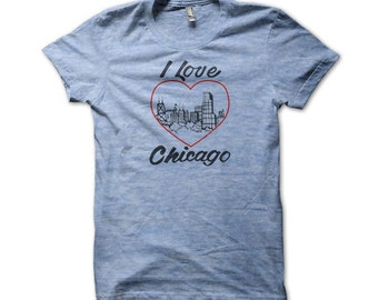 I Love Chicago American Apparel T-shirt - I81