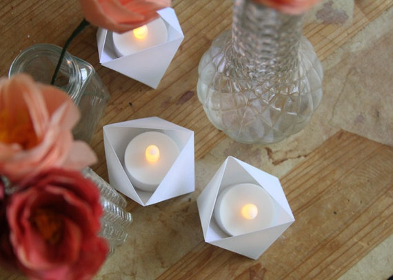 1 Origami Tea-light Candle Holder by alongcamethefold on Etsy