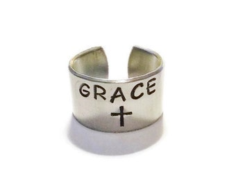 Faith Ring - Grace Ring - Cross Ring - Faith Jewelry - Grace Jewelry - Cross Jewelry - Ring with Grace - Religious Jewelry - Word Jewelry