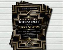 Great Gatsby birthday invitation. Adult birthday. Hollywood film theme party invite. Black and gold glam printable digital invite. AB036