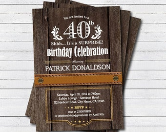 surprise 40th birthday invitation. Man, men. Rustic wood surprise 30th 40th 50th 60th birthday party printable digital invite. AB028