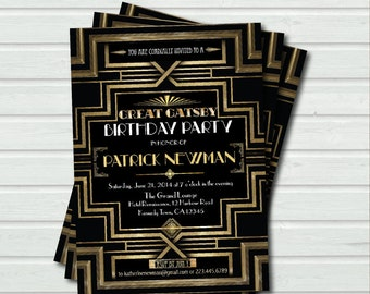 Great Gatsby birthday invitation. Adult birthday. Hollywood film theme party invite. Black and gold glam printable digital invite. AB036