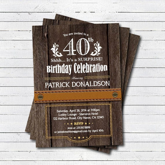 surprise 40th birthday invitation Man men Rustic wood – Mens 40th Birthday Invitations