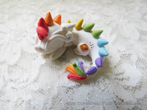 Cute Polymer Clay Dragon Miniature Figurine in Rainbow – 1.3 Inch Figure / MADE TO ORDER