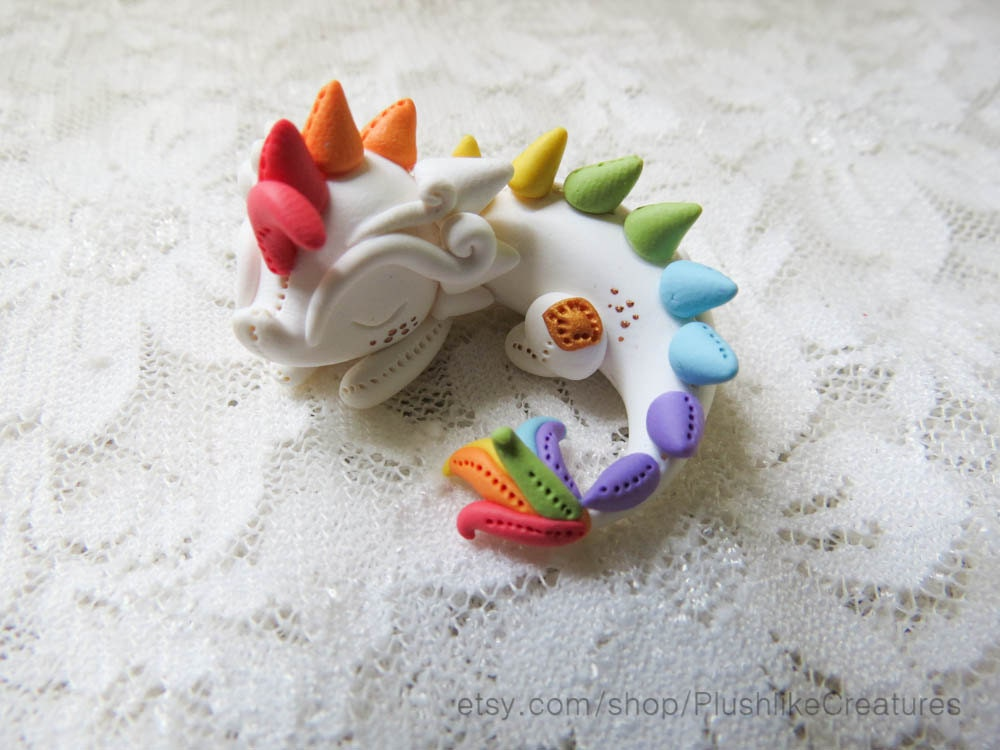 Cute polymer clay dragon miniature figurine by for Cute things to make out of clay