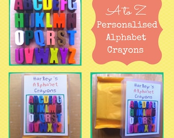 A to Z Chunky Letter Alphabet Crayons in Personalised Storage Box