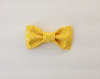 Bright Yellow Zig Zag (Skinny Chevron) - Bow Tie Hair Clip or Clip on Bow Tie!  For girls or boys!