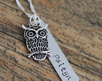 Owl Nameplate Necklace, Hand Stamped, Personalized, Owl Jewelry