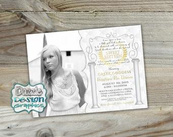 Greek Goddess Sweet 16 Birthday Invitation | Sweet Sixteen birthday invite | Greek columns gold glitter swirls | #601 Digital file or Prints