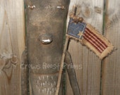 SALE Americana Liberty Primitive Bear Sitter with Flag