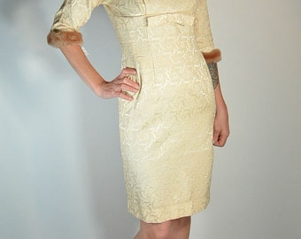 60s Brocade Dress with Faux Fur Trim// Wiggle Dress// Mad Men Dress