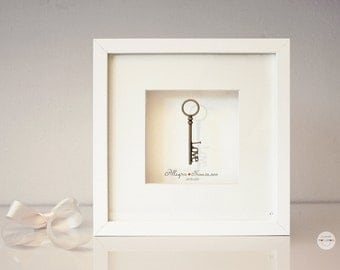 Personalized Wedding Gift Art Framed Gifts Bronze Anniversary Unique and Personalized - love key antique bronze - framed under glass