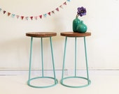 Tripod stool in wood and metal, seat, vintage & industrial spirit, color grey, model Saturnin