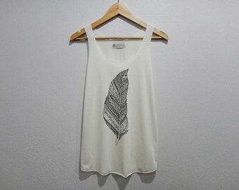 Feather Tank Tops Women Size S M L