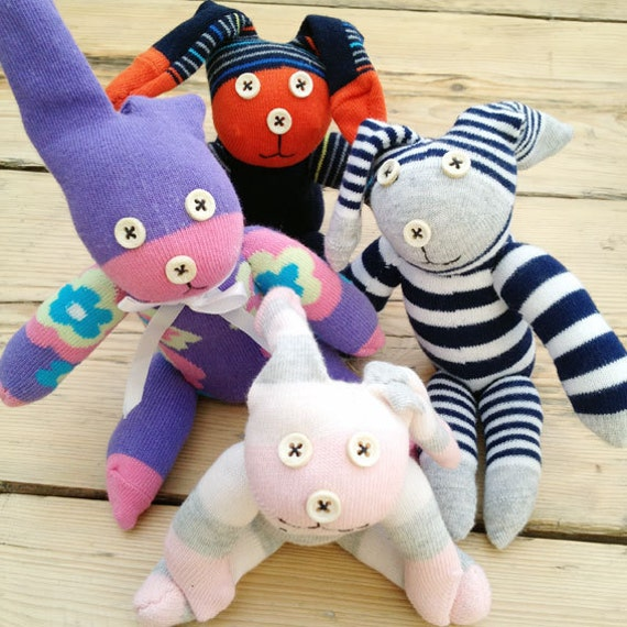 Handmade Mini Sock Bunny Kit - Rabbit sewing craft gift for kids, teenager, adult boy or girl