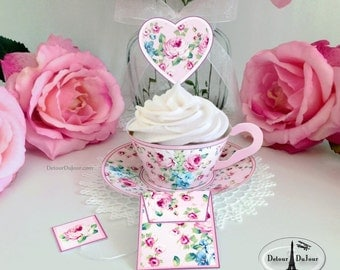 15%OFF20 COUPON CODE Shabby Floral Paper Tea cups Printable Cupcake Wrappers Printable SC-001P