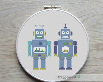 cross stitch pattern robot, modern cross stitch robot duo , PDF,  ** instant download**