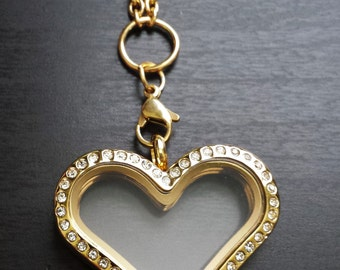 Large Gold Heart Floating Locket-Crystal Face-Stainless Steel-Option to Add Chain-Gift Idea For Women