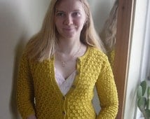 Yellow Classic Lace Women Ladies Cardigan Jacket Hand Knitted Long Sleeves Buttoned