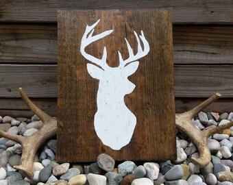 Deer Silhouette Sign, Hanging Wooden Deer Sign, Deer Sign, Rustic Deer, Deer Cameo, Distressed Deer Sign, Deer Decor, Wooden Signs, Buck