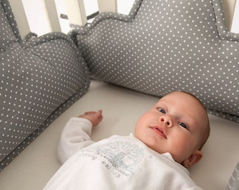 clouds Crib bumper, baby crib bumper, Clouds pillows, baby cot bumper, baby cradle bumper-grey white polkadots, new born gift, baby beddings