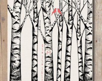 Custom 1st Paper Anniversary Gift, Love birds, Love birds in the Forest Birch Trees, Love heart with initials 8,5 x11